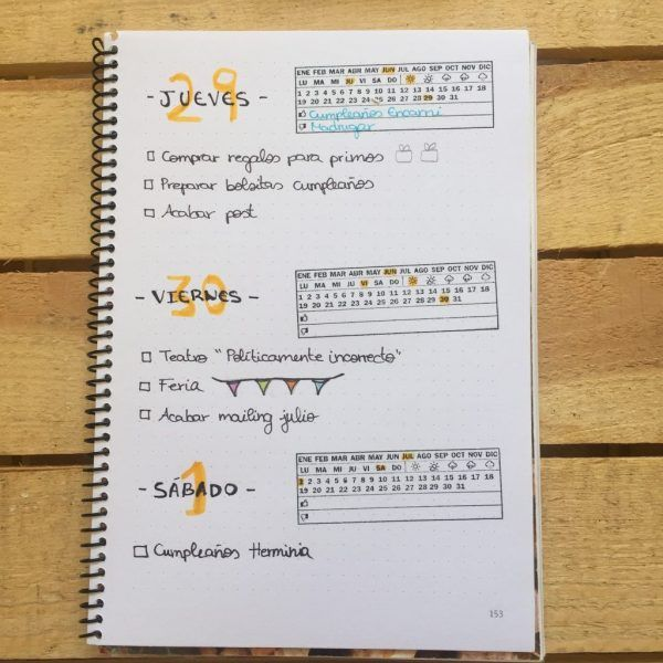 Sello fechador ejemplo en bullet journal